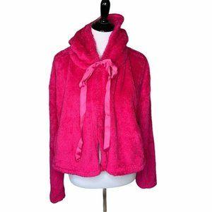 Favlux Womens Fleece Jacket Pink Plush Waist L